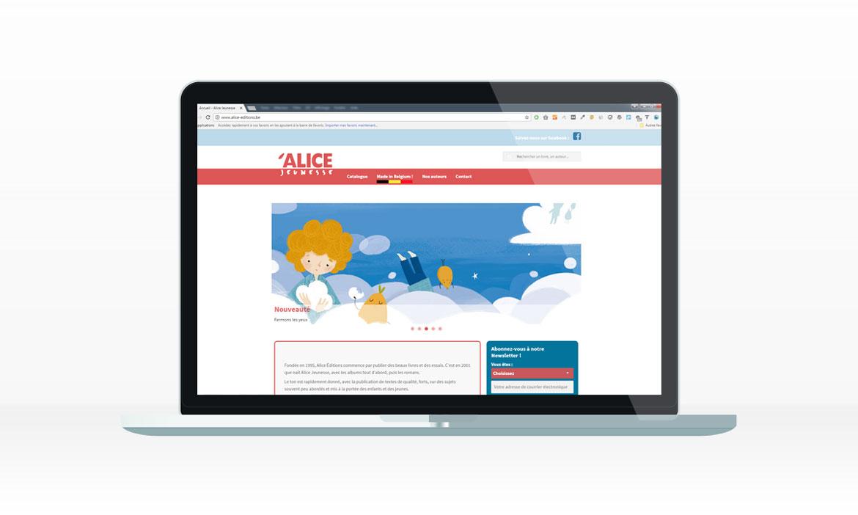 La page d'accueil du site des éditions Alice Jeunesse