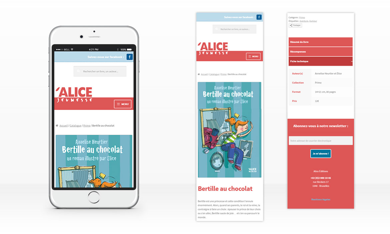 Responsive design sur une page présentant un livre sur le site d'Alice Jeunesse