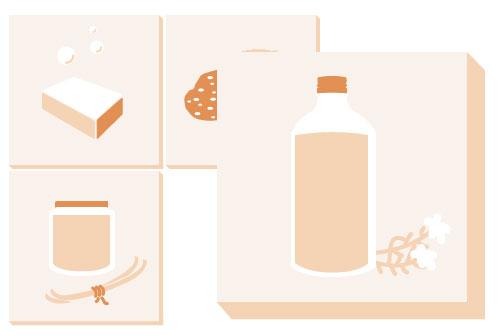 Les illustrations vectorielles des cosmétiques réalisées pour le site.
